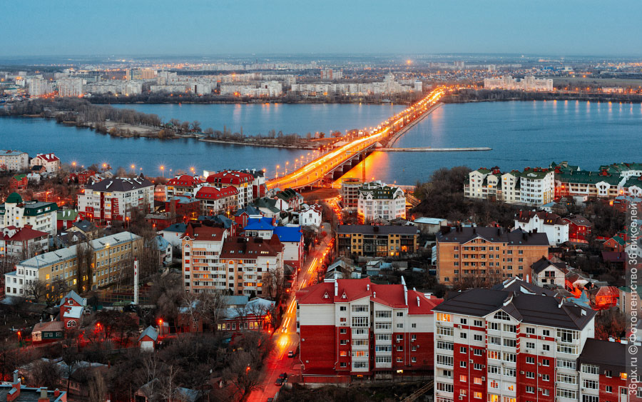 Вид из центра Воронежа на Чернавский мост