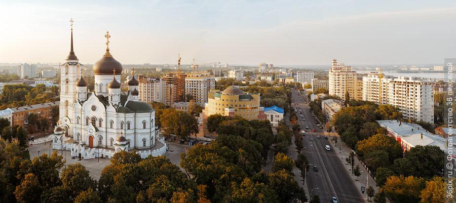 Панорама Благовещенского собора и проспекта Революции в Воронеже