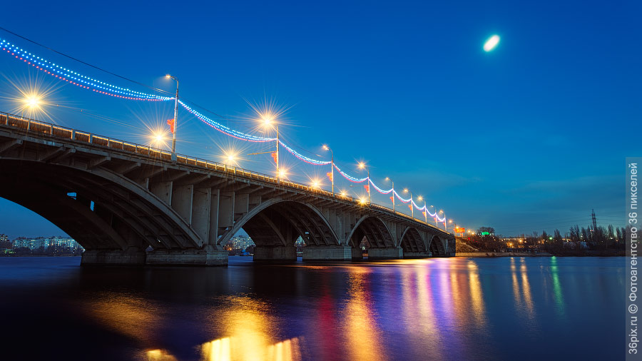 ВоГРЭСовский мост ночью при Луне
